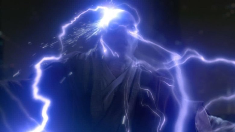 Mace Windu hit by Force lightning