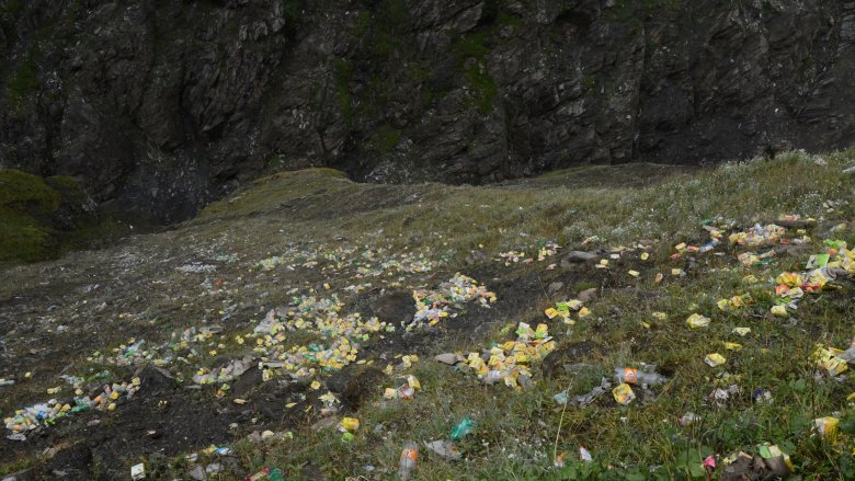 Hillside covered with trash