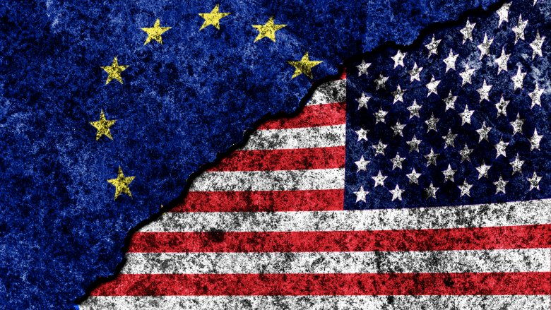 united states European union flags together