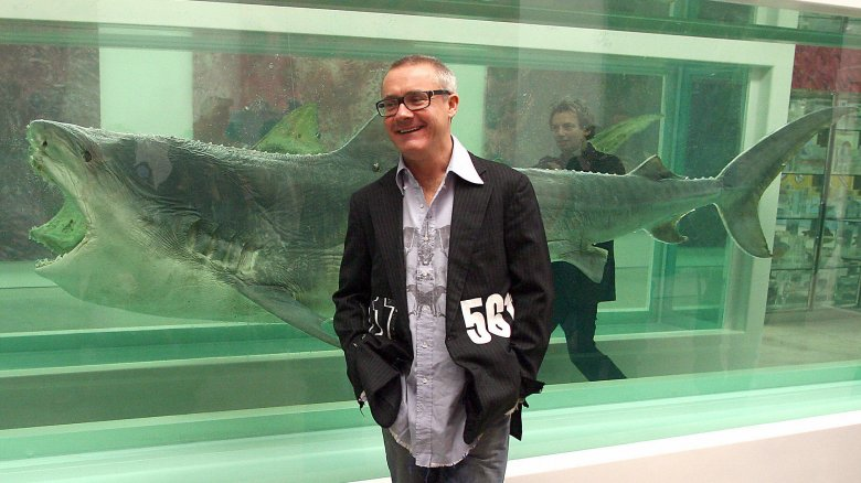 Damien Hirst with his shark