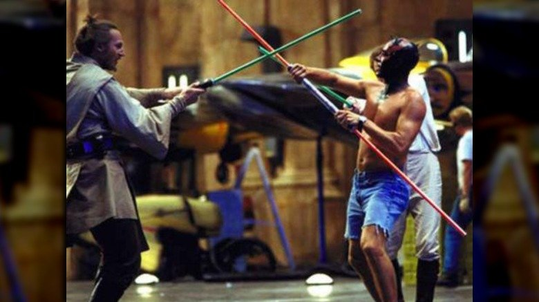 lightsaber practice with maul and qui gon