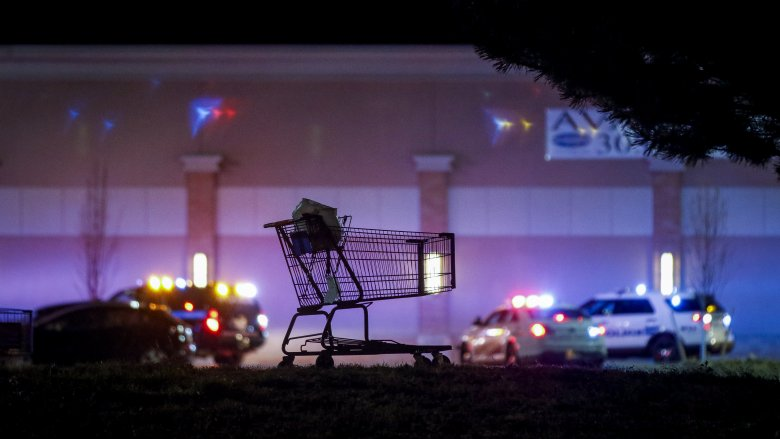 walmart night shopping cart