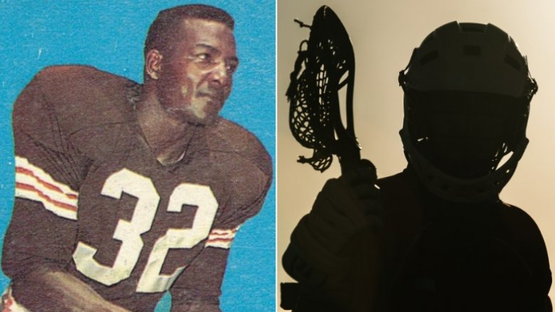 Jim Brown football card and lacrosse stock photo