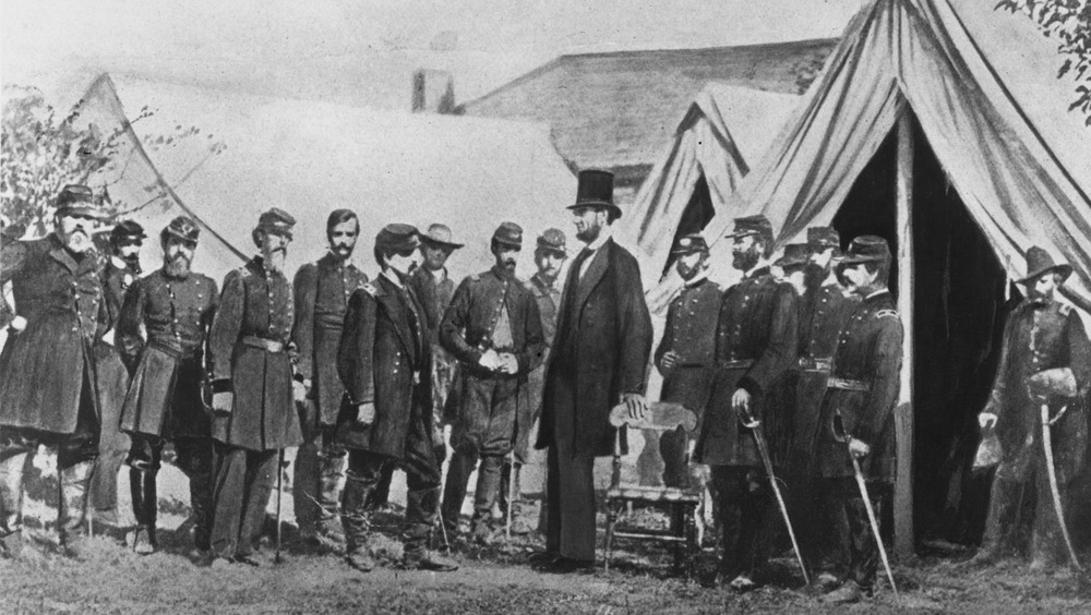 President Abraham Lincoln visiting Union soldiers during the Civil War