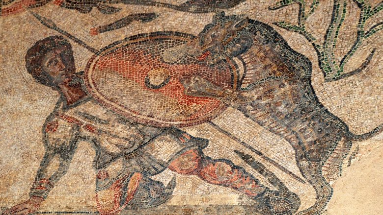 Mosaic of a Roman leopard hunt