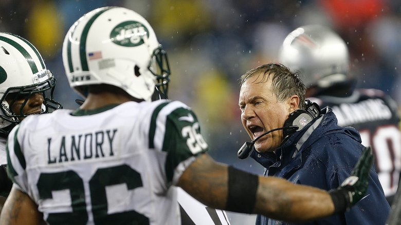 Bill Belichick coaching against the Jets