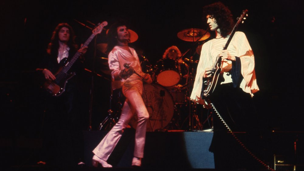 Queen on stage in 1974: (L to R) John Deacon, Freddie Mercury, Roger Taylor, Brian May