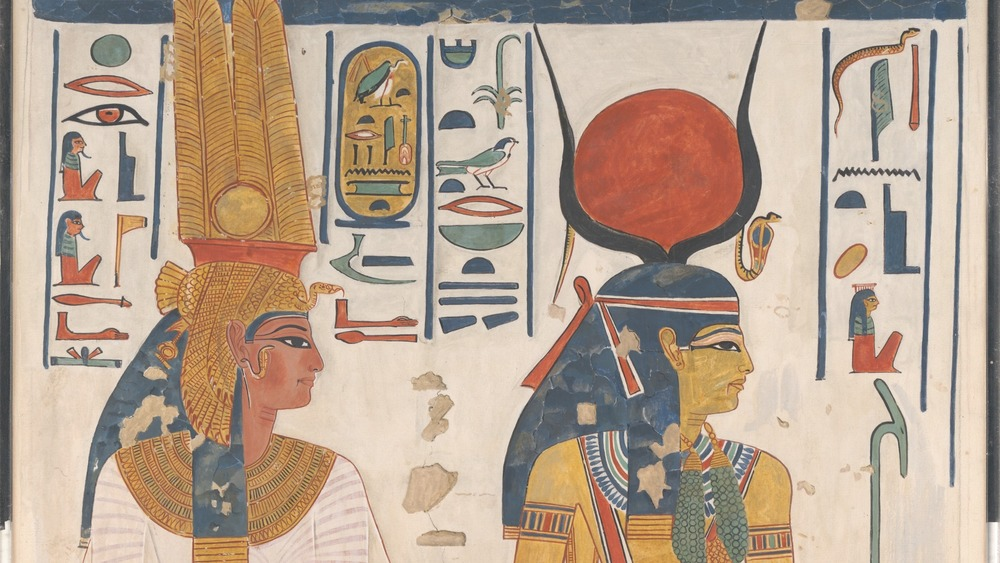 Facsimile of a painting in the tomb of Nefertari