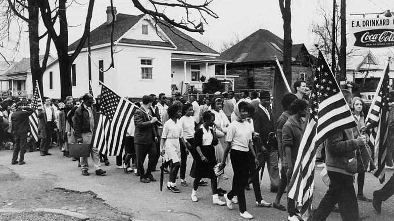 Protesters March from Selma to Montgomery, Alabama in 1965