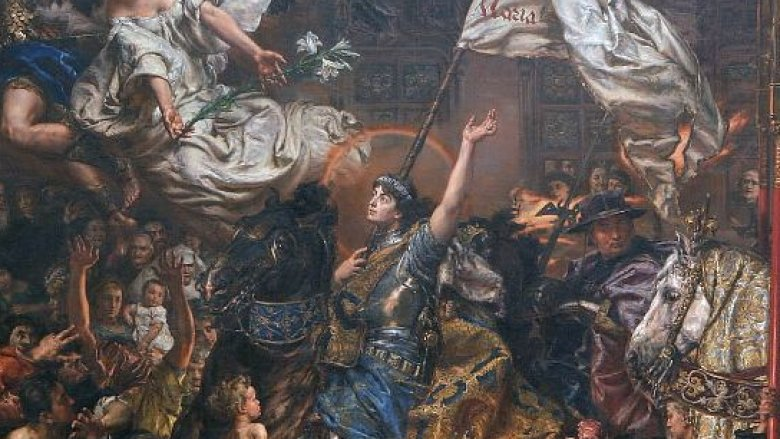 Joan of Arc in a crowd